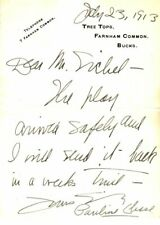 *EARLY PETER PAN ACTRESS PAULINE CHASE RARE ORIGINAL 1913  AUTOGRAPH LETTER*