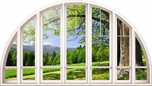 Huge 3D Arched Window Beautiful Green Meadow View Wall Stickers Wallpaper S44