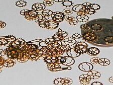 20pc Tiny Metal golden wheels gears watch charm fairy dust glitter steampunk