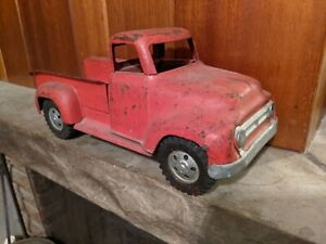 Vintage USED 1955 Tonka Toys Red Step-side Pickup Truck, Pressed Steel - U.S.A.