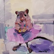 JOSE TRUJILLO Oil Painting IMPRESSIONISM 10X10 MOUSE IN TUTU BALLERINA SIGNED