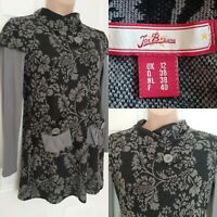 JOE BROWNS Cotton Blend Grey Floral Tunic Jumper Mini Dress Size 12