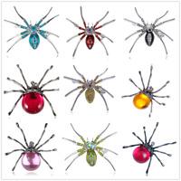 Vintage Large Spider Crystal Rhinestone Diamond Brooch Pin Halloween Xmas Gift