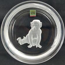 "Hoya - Japan - Crystal Glass Wine Bottle Coaster - 5"" - Monkey"