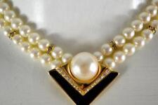 vintage Marvella double pearl strand pendant necklace black enamel rhinestones