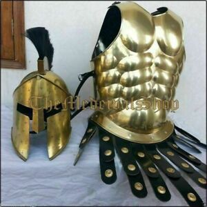 Greek Muscle Jacket with Spartan Helmet Brass Antique Medieval Armor costume