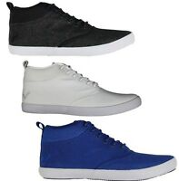 Voi Jeans Mens Canvas Trainers High Top Lace Up Shoes Smart Designer Sneakers