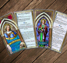 St. Mary Magdalene Stained Glass laminated Holy Prayer cards. Stained Glass art