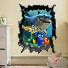 Alla ricerca di Nemo 3D Vista MARE PESCE SQUALO Art Decalcomanie Bambini Adesivo Parete Murale del Regno Unito