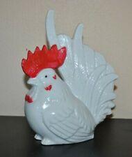 "Vtg Farmhouse ROOSTER Bird Figurine WHITE Glazed Ceramic 7.75"" H KOREA"