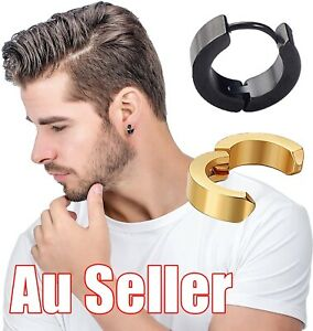 1Pair Stainless Steel Clip On Hoop Earrings Huggie Mens Unisex Non Pierced Ear