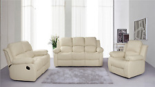 New Luxury Valencia Bonded Leather Recliner Sofa Suite 3 , 2 , 1 Seaters - Cream