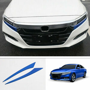 For 2018-2020 Honda Accord Blue Stainless Headlight Lamp Eyebrow Trim Cover 2PCS