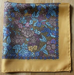 Yellow & blue floral Silk Pocket square Handkerchief 40cm. Hand rolled