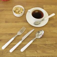 NEW WHITE 16PC PLASTIC HANDLE CUTLERY SET DINING TABLE HOME STAINLESS STEEL FOOD