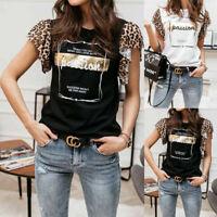 Women's Ladies Tulle Frill Ruffle Mesh Puff Short Sleeve Leopard Tee T-Shirt Top
