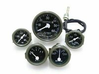 NEW GREEN BEZEL SPEEDOMETER,TEMP,OIL,FUEL,AMP GAUGES SET WILLYS JEEP
