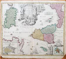 Homann Large Colored Map Sicily Sicilia Sardegna Malta  - 1720