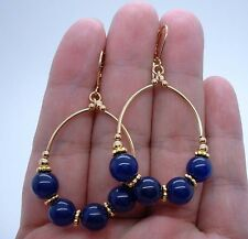 Dangle Blue Lapis Lazuli Gold Hoop  Earrings   !! A01028