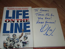 """KARL NELSON signed LIFE ON THE LINE 1993 1st Ed Book NEW YORK GIANTS """"To Noreen"""""""