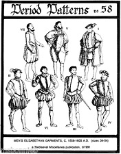 Men's Elizabethan 1558-1605 Garments Costume sz 34-54 Period Patterns Sewing 58