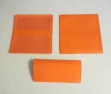 1 NEW ORANGE VINYL CHECKBOOK COVER WITH DUPLICATE FLAP CHECK BOOK COVERS