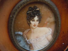 Tableau miniature peinte portrait de Madame Récamier cadre en bois