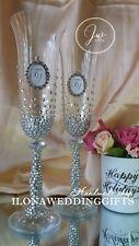 Swarovski Crystal Personalized Wedding Toast Champagne Glass Flute Silver Strass