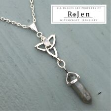 Silver Plated Labradorite Point & Rainbow Moonstone Triquetra Pendant Wiccan