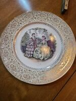 VINTAGE IMPERIAL BY SALEM CHINA CO 23 KT GOLD TRIM SERVICE PLATE IMAGE BY GODEY