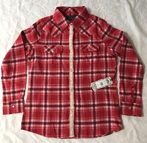 Shyanne Girls Large Button Up Long Sleeve Red Flannel Shirt (big kid)