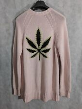 Hesperios Soft Pink Marijuana Leaf Intarsia Knit Sweater