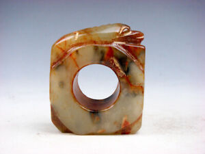 Old Nephrite Jade Stone Carved Ancient Ring w/ ancient Beast Top #12122004