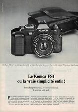 PUBLICITÉ DE PRESSE 1979 APPAREIL PHOTO KONICA FS1 OU LA VRAI SIMPLICITÉ ENFIN