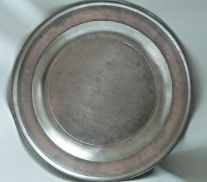 """Well-marked 8 1/2"""" Antique American Pewter Plate, signed, by R. Palethorp, Jr."""