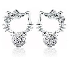 2pcs Hello Kitty Silver-plated Earrings Rhinestone Crystal Ear Studs Earring