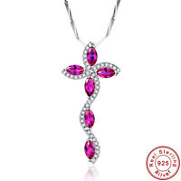 9.0CT Marquise Cut Ruby 100% 925 Sterling Silver Leaves Chain Pendant Necklace