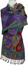 Schal scarf Wolle wool handbestickt hand embroidered Violet Lila écharpe laine
