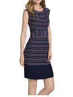 Tory Burch Marlow Silk Dress Sheath Sleeveless Round Neck Lined Navy Size 8