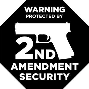 Protected by 2nd Amendment Gun vinyl Decal Home Sticker front door security