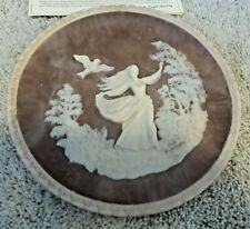 "Vintage Incolay Pink Incolay Cameo Wall Plate ""To A Skylark"" #08358 1979"
