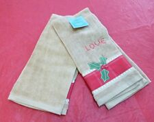"St Nicholas Square ""Love"" Holiday Decorative Hand Towel Two Pack Brown Red New"
