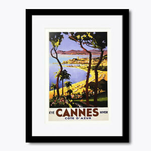 Cannes France Cote D'azur Beach Vintage Wall Art Print Framed Poster Picture