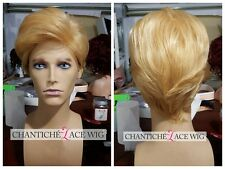 Short Straight Synthetic Wigs For Men Blonde Short Hair Full Wigs Natural Wavy