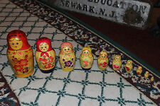 Vintage Russian Soviet Nesting Dolls-10 Pieces-Painted Women-Wood-Detailed
