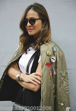 ZARA KHAKI BOMBER JACKET WITH PATCHES SIZE MEDIUM REF 5070 008