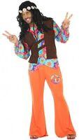 Déguisement Homme HIPPIE Orange M/L Costume Adulte Années 60 NEUF