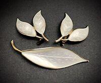 D Andersen Norway Sterling White Enamel Leaf Brooch & Earrings - READ!! (RF1045)