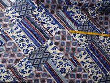 "Cream & Blue Patchwork Effect Viscose Fabric 56"" Wide Soft Boho Peasant Chic"