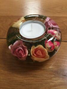 GLASS CANDLE HOLDER HAND MADE   FLORAL DESIGN  (ANNABEL)